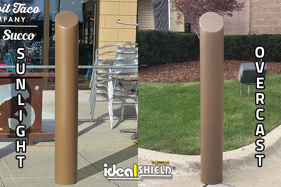 Ideal Shield's Metallic Bronze Bollard Cover comparison