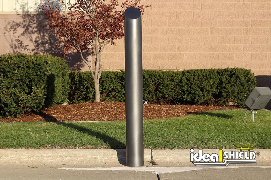 "Ideal Shield's metallic gray 6"" Skyline decorative bollard cover"