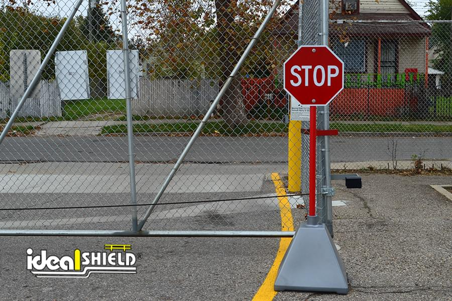 Ideal Shield's Silver Sign Base used as a Stop Sign