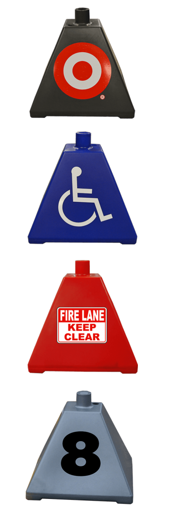 Mix of custom decals for sign bases available at Ideal Shield.