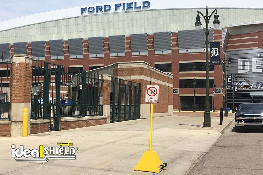 Ideal Shield's yellow plastic Pyramid Sign Base outside of Comerica Park and Ford Field in Detroit, MI.