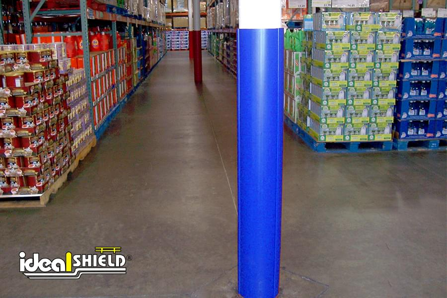 Ideal Shield's blue plastic Round Column Wrap