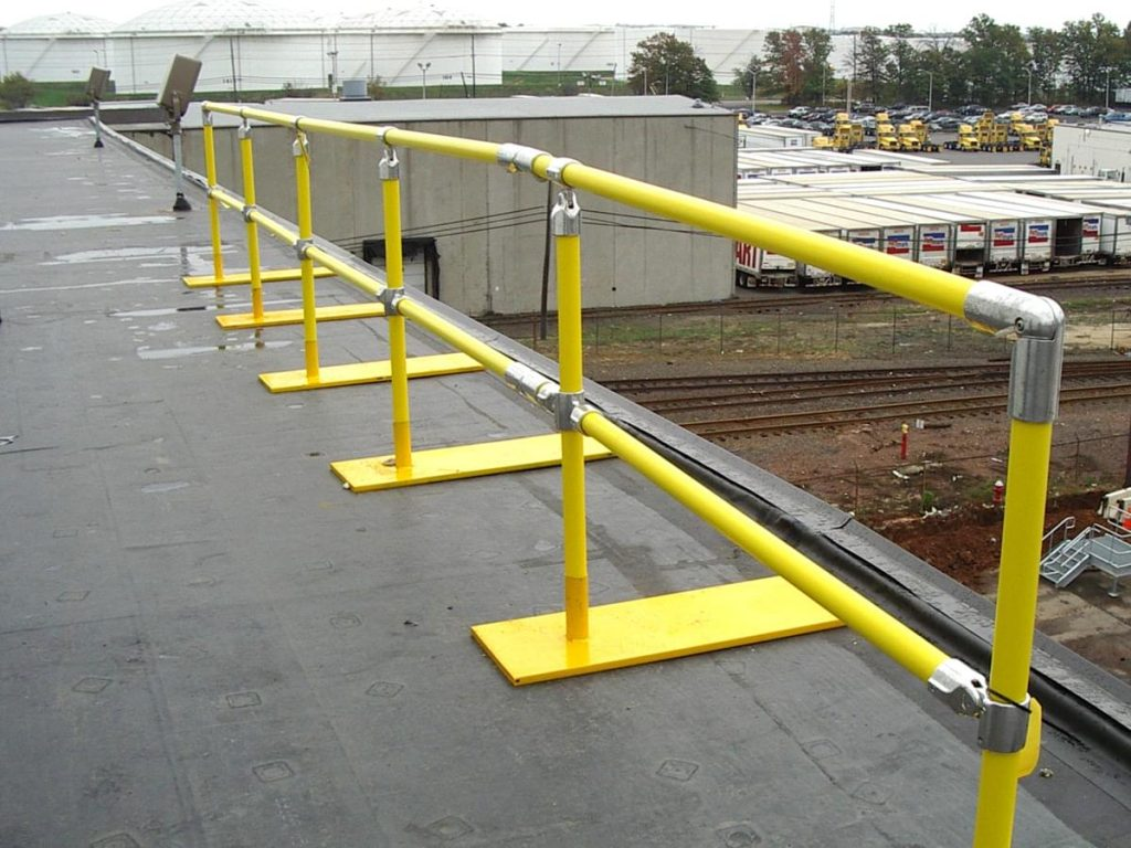 Ideal Shield's Roof Fall Protection Railing with base plates