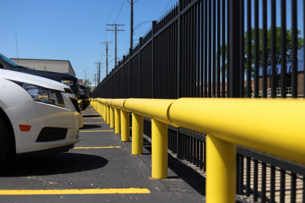 Ideal Shield's one-line industrial guardrail used for parking lot protection