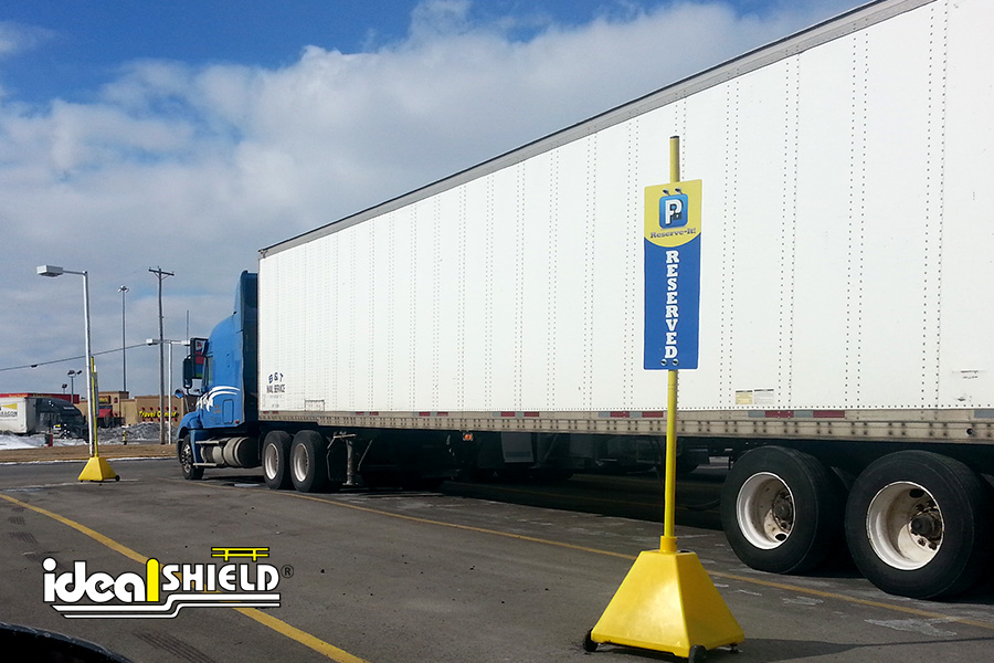 Ideal Shield's Sign Bases used for designated parking spots at truck stops