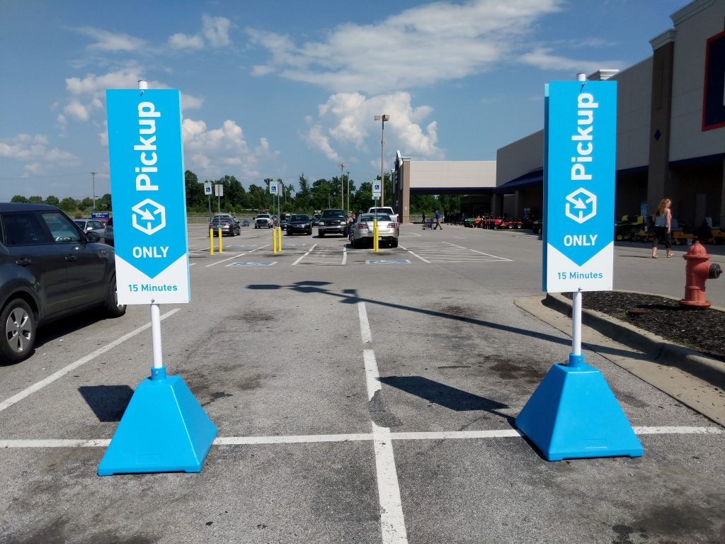 Ideal Shield's Pyramid Sign Bases at Lowe's Curbside Pickup Locations