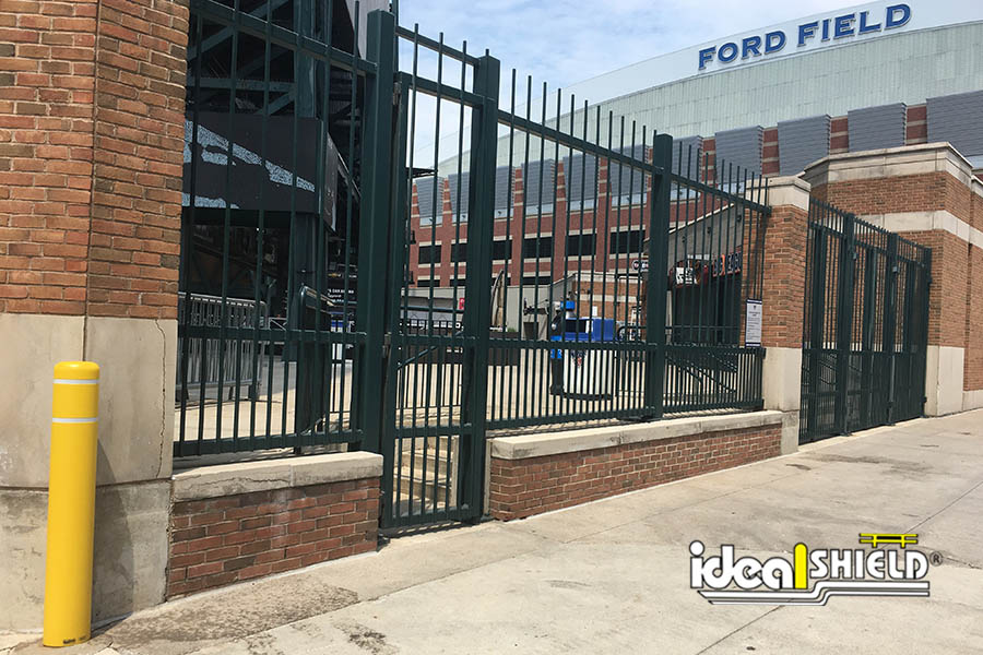 Ideal Shield's Flat Top Bollard Cover at Comerica Park in Downtown Detroit