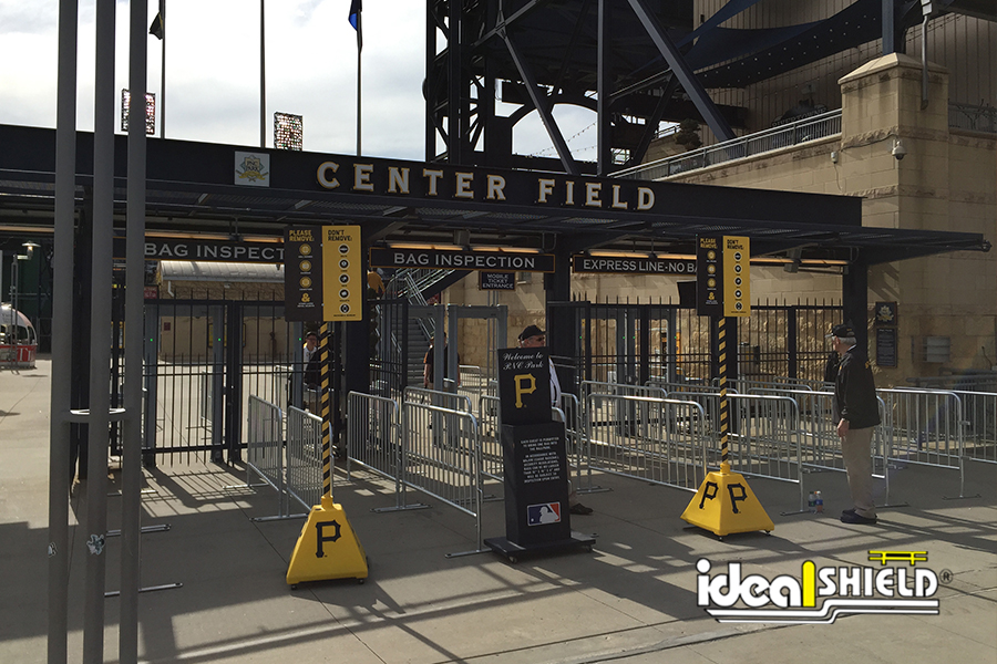 Ideal Shield's Portable Plastic Sign Bases custom designed for PNC Park