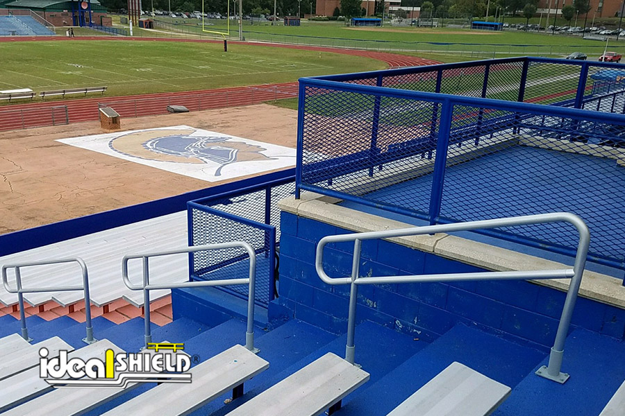 Ideal Shield's Aluminum Handrail at High School Football Stadium