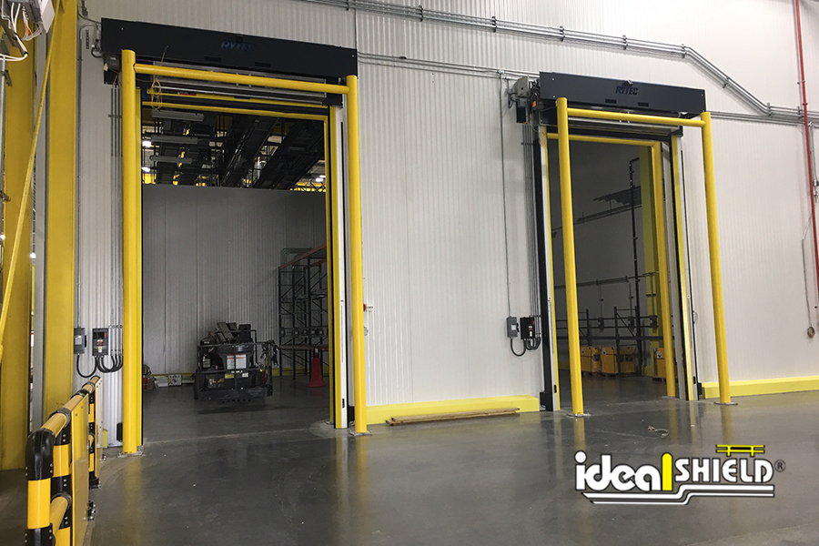 Ideal Shield's Goal Post Dock Door Guardrail for protection of overhead doors in the warehouse