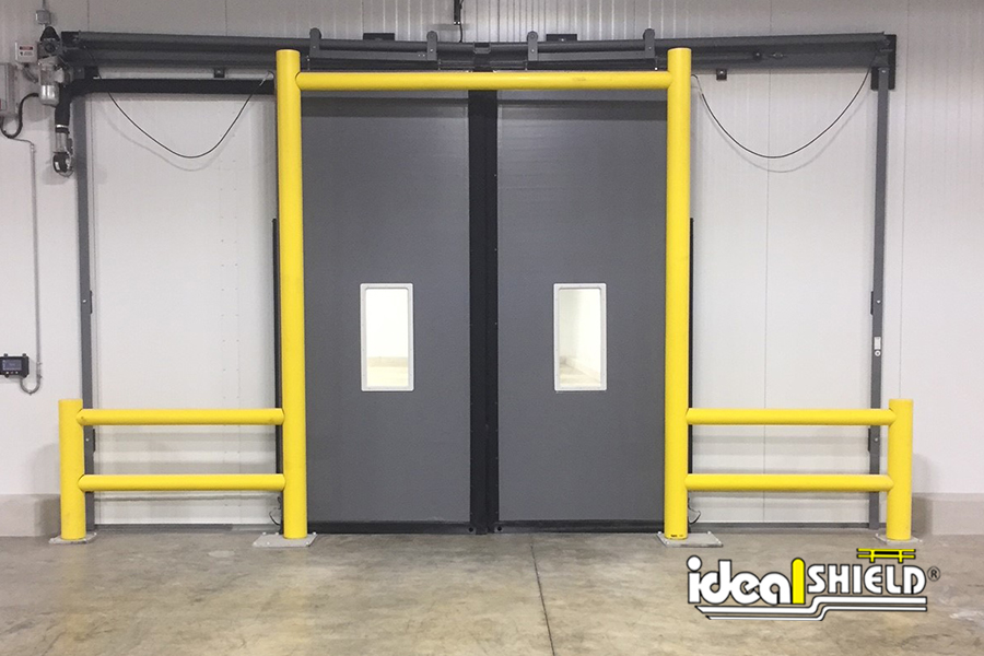 Ideal Shield's Goal Post Dock Door Guardrail for overhead and sliding warehouse doors