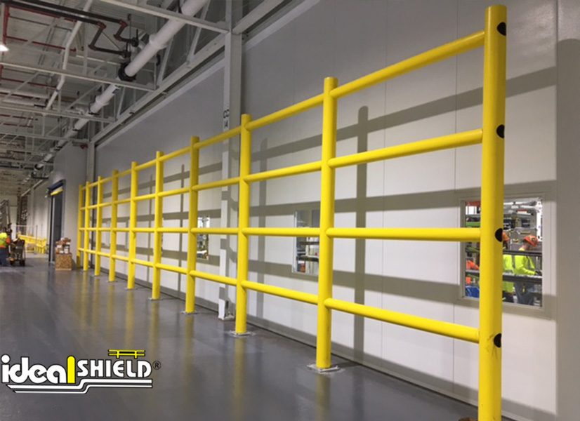 Ideal Shield's Safety Wall Guardrail System protecting an office wall in the warehouse