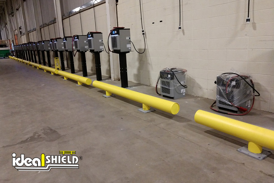 Ideal Shield's One-Line Heavy-Duty Industrial Warehouse Guardrail designed for forklift protection