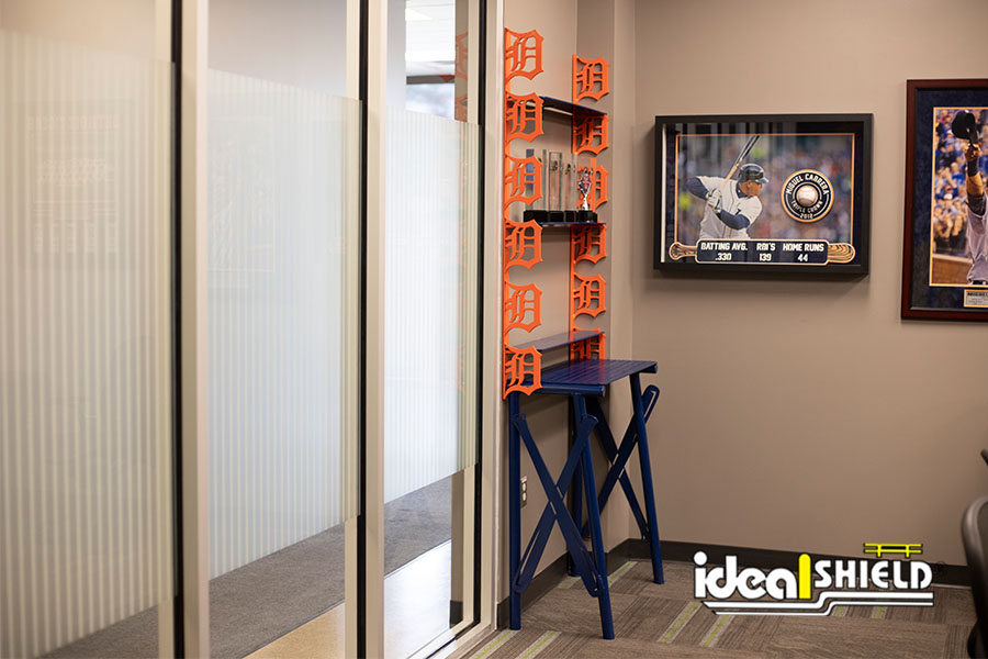 Custom cut and designed Detroit Tigers shelving unit made by Ideal Shield