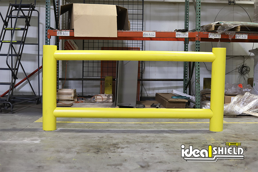 Ideal Shield's Two-Line Warehouse Rack Guardrail installed with Core & Drop