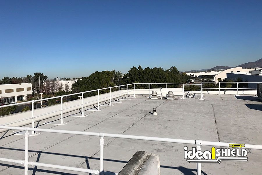 Ideal Shield's white powder coated Roof Fall Protection Railing
