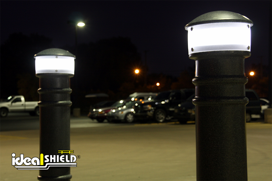 Ideal Shield's Hardwired Lighted Bollard Covers at night