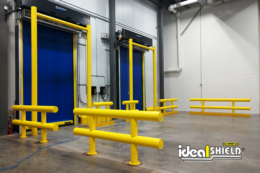Ideal Shield's Goal Post Guardrails and Heavy Duty Guardrails at a cold storage facility