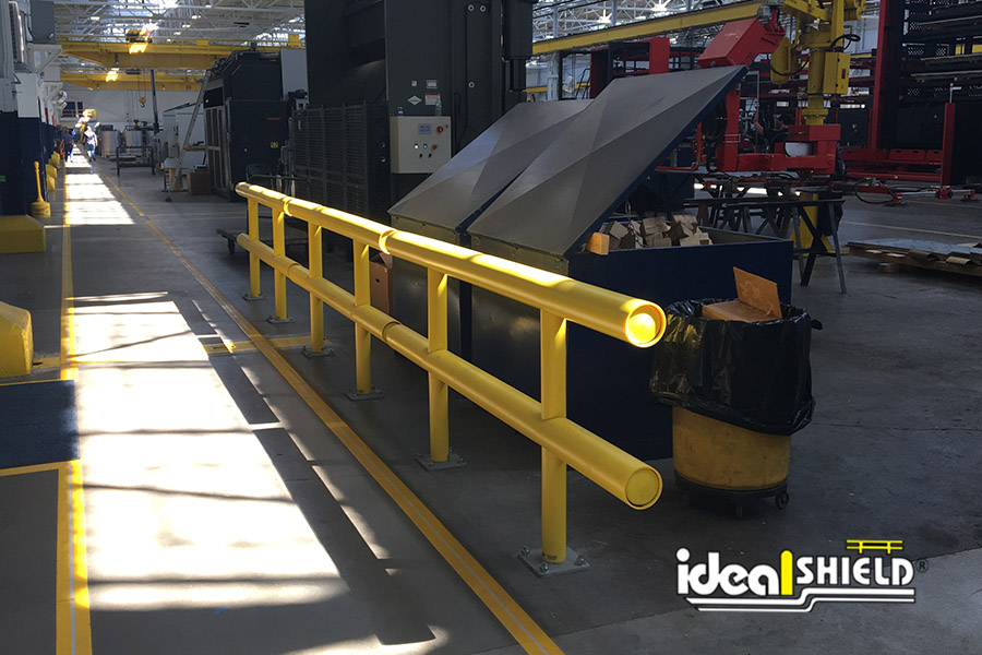 Ideal Shield's Standard Guardrail lining a warehouse walkway