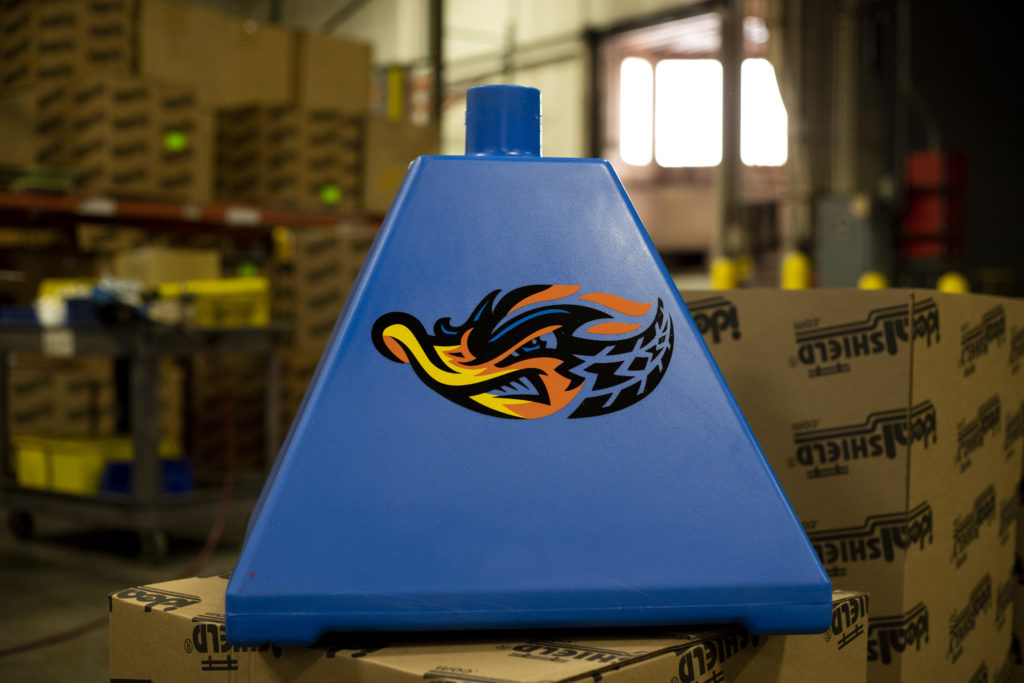 Ideal Shield's Pyramid Sign Base with custom decal for the Akron RubberDucks