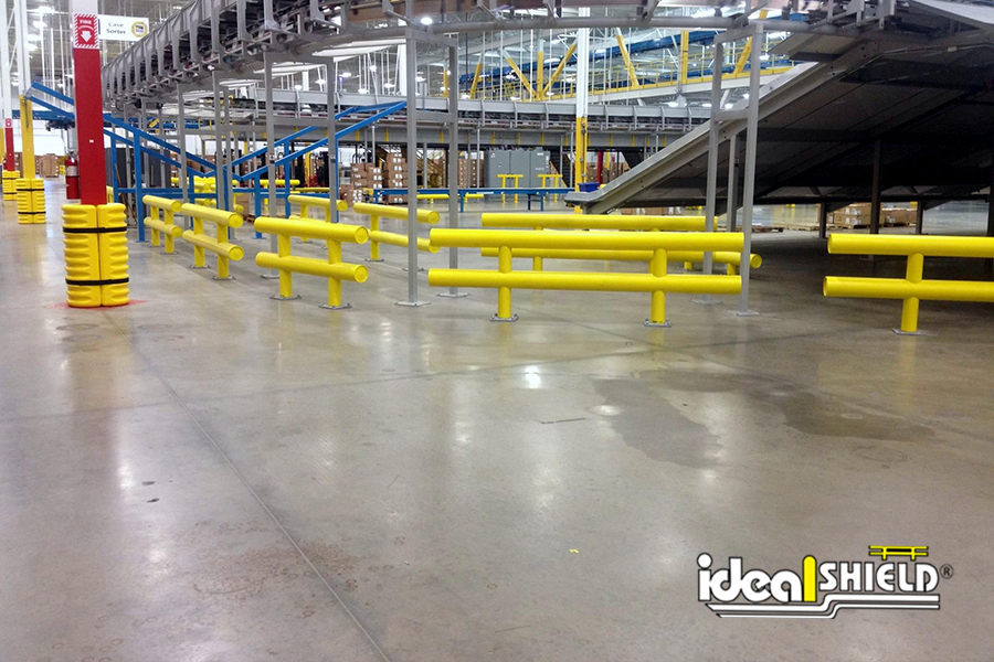 Ideal Shield's Heavy Duty Guardrail lining a manufacturing plant