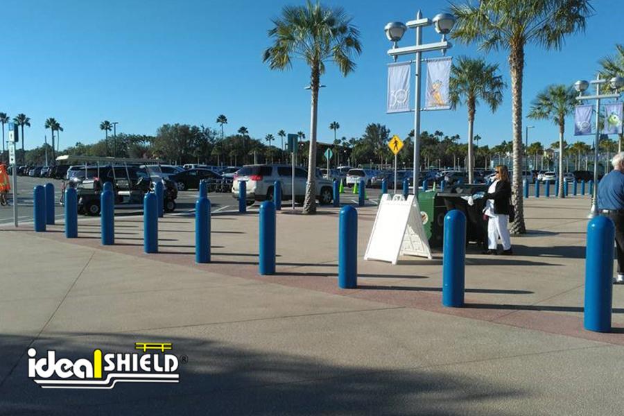 Ideal Shield's custom Blue Bollard Covers at Disney World