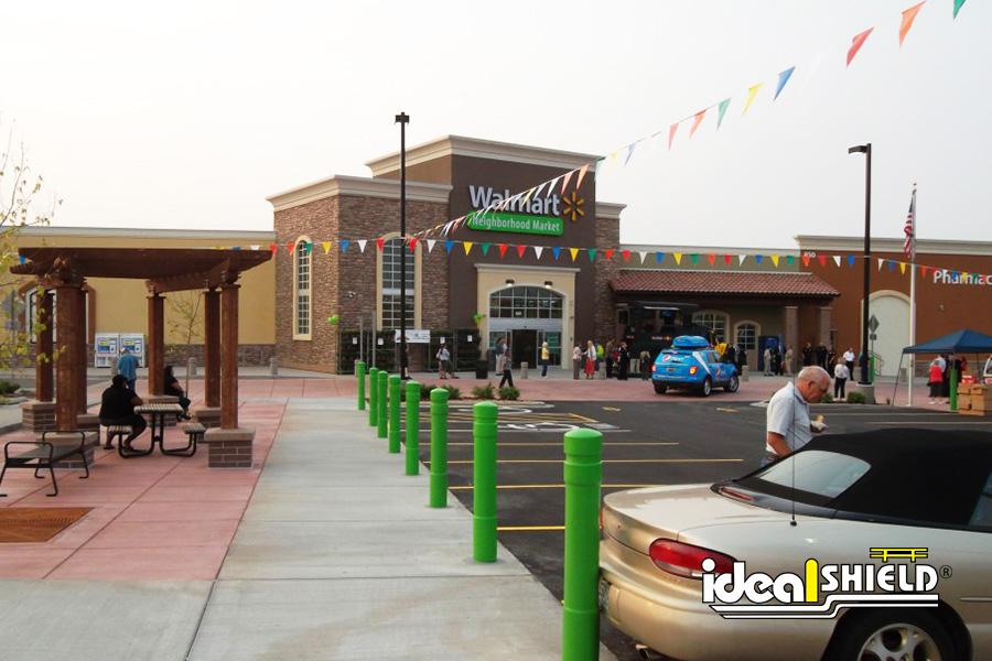 Ideal Shield's Custom Lime Green Architectural Bollard Covers at Walmart